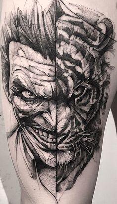 The Joker Tattoo. Bear Tattoos, Skull Tattoos, Body Art Tattoos, Hand Tattoos, Cool Tattoos, 4 Tattoo, Tiger Tattoo, Tatoo Art, Tattoo Fonts