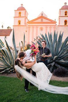 Boho Wedding in Santa Barbara Industrial Wedding Venues, Outdoor Wedding Venues, Wedding Ceremony, Wedding Photography Inspiration, Wedding Inspiration, Old Mission Santa Barbara, Surprise Wedding, California Wedding, Southern California