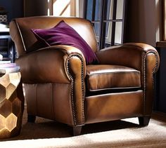 With its signature blend of quality, value and style, our Manhattan Leather Armchair is a Pottery Barn classic. The well-padded arms, high back and deep seat resemble furniture used in Manhattan nightclubs of the Furniture Near Me, Find Furniture, Furniture Decor, Furniture Design, Furniture Stores, Furniture Movers, Furniture Companies, Plywood Furniture, Furniture Makeover