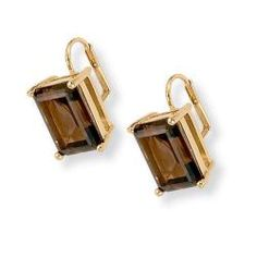 Angelina D'Andrea 14k Yellow Goldplated Smokey Quartz Earrings   Overstock™ Shopping - Top Rated Palm Beach Jewelry Gemstone Earrings