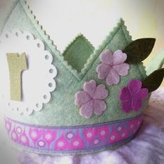 pink and green felt birthday crown for girls  flowers  by mosey, $32.00