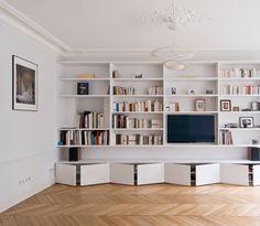 Living Room Bookcase, Home Living Room, Living Room Designs, Living Room Decor, Minimal House Design, Minimal Home, Home Office Design, Home Office Decor, Office Furniture