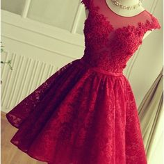 Cute red knee-length red short lace christmas party dresses - Thumbnail 14