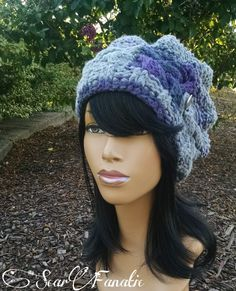 2b8c43662a3 Heather gray  grey and purple cabled Slouch Hat  slouchy beanie  with  silver button