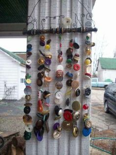Items similar to Made when ordered Button Chime with Upcycled Vintage Chair Spindle OOAK on Etsybutton chime---what you think button girlAnother brilliant Etsy artist gets creative - button chimesbutton chime, another good idea for crafts:)These butt Button Art, Button Crafts, Diy And Crafts, Crafts For Kids, Arts And Crafts, Stick Crafts, Recycled Crafts, Bead Crafts, Fall Crafts