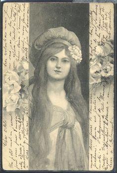MZ070 ART NOUVEAU VIENNE BKWI FEMME CHEVEUX longs CHAPEAU 1904