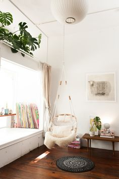 Indoor Hanging Chair From Ceiling . Indoor Hanging Chair From Ceiling . Hanging Chair Apartment Corner Home Decor Small Apartments, Small Spaces, Small Rooms, Deco Retro, Diy Casa, White Rooms, White Bedroom, Master Bedroom, Girls Bedroom