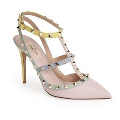"""Valentino 'Rockstud Watercolor' T-Strap Pump, 4"""" heel (15.320.105 IDR) ❤ liked on Polyvore featuring shoes, pumps, water color, polish shoes, fleece-lined shoes, ankle wrap shoes, ankle strap shoes and pastel pumps"""