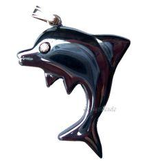 Dolphin Pendant Hematite Black Gemstone Jewellery Haematite Fish Pendant Only