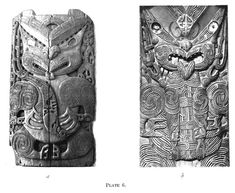 Journal of the Polynesian Society: Evolution Of Certain Maori Carving Patterns, By Gilbert Archey, P Maori People, Maori Art, Easter Island, Fashion Books, British Museum, Evolution, Art Decor, Creatures, Carving