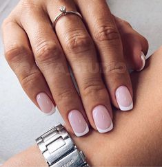 Minimalist Nails, Pink Ombre Nails, White Nails, Short French Nails, Gel French Tip Nails, Summer French Manicure, French Manicures, Hair And Nails, My Nails