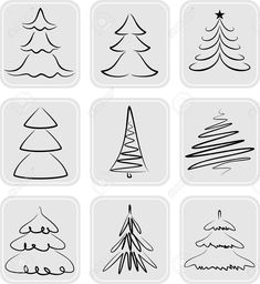 May be used as icons - stock vector Christmas trees silhouettes. May be used as icons - stock vector Christmas Family Feud, Christmas Games, Christmas Art, Simple Christmas, Christmas Decorations, Christmas Ornaments, Christmas Icons, Christmas Doodles, Christmas Drawing
