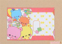 kawaii mini envelope with colorful bear pocket - Kawaii Shop Small Envelopes, Paper Envelopes, Japanese Stationery, Kawaii Shop, Letter Set, Cute Designs, Notebook, Super Cute, Presents
