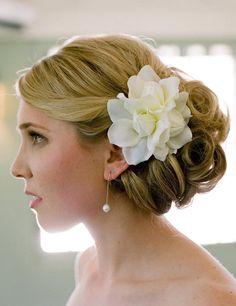 Gardenia flower in a bridal up do
