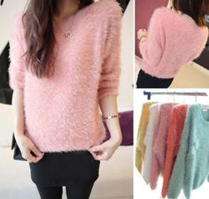 Fashion Women's Ladies Crew Neck Pullover Jumper Casual Loose Long Sweater XJ