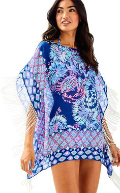 7a6bf0ded7ffbf Lilly Pulitzer Ginette Coverup - Twilight Blue Gypsea Girl Engineered S