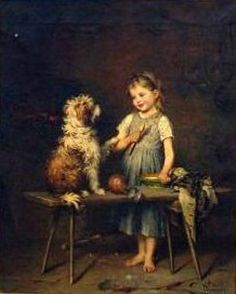 Interior With Young Girl And Her Dog Heinrich Hirt (1841 – 1902, German)