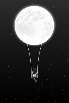 Luna, Mujer, Soledad, Estrellas, Luna Llena