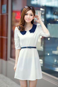 Korean Fashion Doll Collar White Dress (With Belt)
