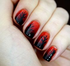 Nail Art - Red with Black tips and Black Design