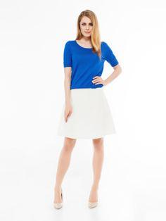 #spodnica damska rozkloszowana. Stylizacja do biura, do pracy.