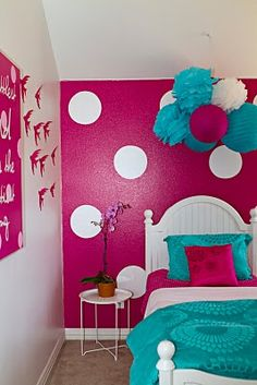 cute girls room - I love the bold use of color, although I don't think I'd have the guts to do it!