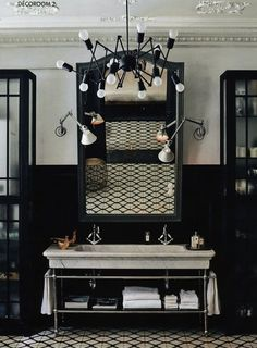 Bathroom Vanity  Single vanity, or double, vessel sinks made of crystal, shells, marble,  wood or stone. Stricking large mirrors that adorne metallic or mirror faced  bath tubs and boudoirs... this is bathroom vanity, and we love  it!//Meublelavabosimpleoudouble,vasquesfaitedecristaux,