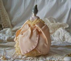 Antique Pin Cushion Doll Porcelain Half Doll Pink by cynthiasattic