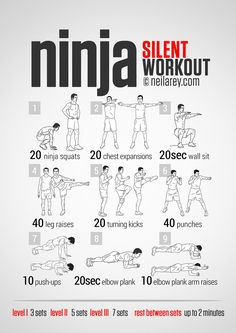 Ninja Workout - because the last thing I need is my neighbors banging on the door asking if I have a permit for that whale flailing around in my apt. -_-