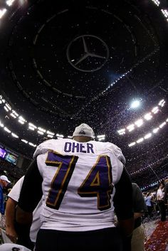NEW ORLEANS, LA - FEBRUARY 03: Michael Oher #74 of the Baltimore Ravens celebrates after defeating the San Francisco 49ers during Super Bowl XLVII at the Mercedes-Benz Superdome on February 3, 2013 in New Orleans, Louisiana. The Ravens defeated the 49ers 34-31. (Photo by Mike Ehrmann/Getty Images)