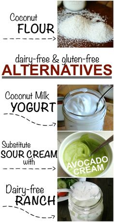 Dairy free & gluten free alternatives! Good to know if you ever need to make some substitutions. #glutenfree #dairyfree
