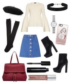 """""""Miss Selfridge Bright Blue Denim Skirt"""" by thebaublelife ❤ liked on Polyvore featuring Miss Selfridge, Aéropostale, Gucci, Schutz, Emporio Armani, The Row, Mansur Gavriel, Casetify, She.Rise and Urban Decay"""