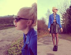 Sunglasses, Blue Leather Jacket, Black And White Crop Top