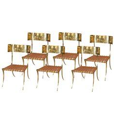 Brass Klismos Style Chairs