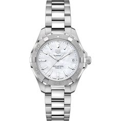 Tag Heuer Women's Swiss Aquaracer Stainless Steel Bracelet Watch 32mm (€1.145) ❤ liked on Polyvore featuring jewelry, watches, no color, stainless steel wrist watch, bracelet watch, tag heuer, stainless steel jewelry and stainless steel bracelet watch