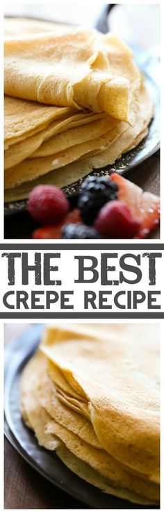 I'm not sure if any crepe recipe is better then my grandfathers. The BEST Crepe Recipe. I have tried several recipes looking for the perfect flavor and batter for crepes and have finally found it! This recipe is awesome! Best Crepe Recipe, Crepe Recipes, Brunch Recipes, Dessert Recipes, Sweet Crepe Batter Recipe, Basic Crepes Recipe, Simple Crepe Recipe, Coconut Flour Crepes, Gastronomia
