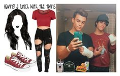 """""""Having a lunch with the Dolan Twins"""" by luni-salazar ❤ liked on Polyvore featuring Dolan, Topshop, Converse, Lime Crime and Emotionally Unavailable"""