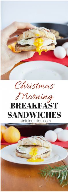 These #Christmas #Breakfast Sandwiches are the perfect recipe for starting the #holiday morning with! Fluffy cinnamon rolls filled with chicken apple sausage, fried eggs, and don't forget the icing! | @sinfulnutrition