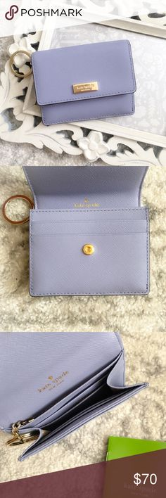 Kate Spade New York Petty Newbury Lane Wallet Kate Spade New York Petty Newbury Lane Wallet  Color: thistle (gorgeous lavender!)   Great key chain wallet for those quick trips to the store!  Convenient key ring  Zippered compartment for coins  ID slot  Snap closure  Two pockets in the front  Five pockets inside Kate Spade Bags Wallets