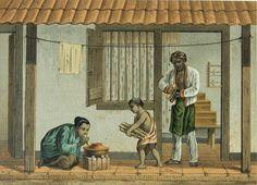 servant's quarter. Lithograph by Josias Cornelis Rappard (1824-1898)