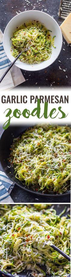 Garlic Parmesan Zoodles (4 Ingredient, 10 min)