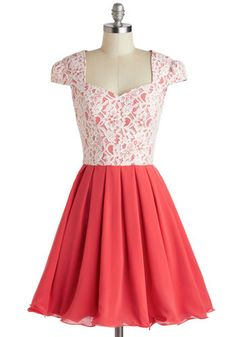 Loganberry Beautiful Dress - Pink, White, Cutout, Lace, Prom, Party, Fit & Flare, Cap Sleeves, Sweetheart, Pleats, Mid-length