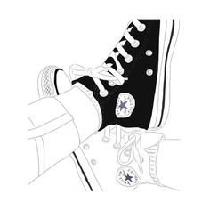 Art converse drawing We Heart It featuring polyvore, fashion, accessories, doodles, filler and outline