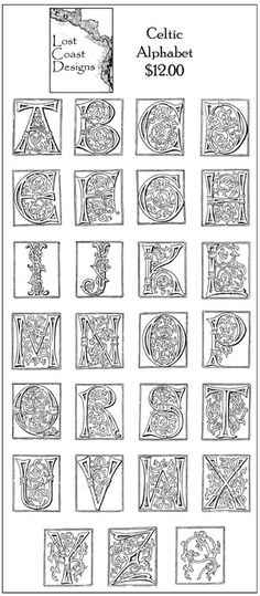 Old English Style Letters  Q R S illuminating characters