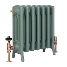 Farrow & Ball Green Smoke No. 47 finish for cast iron radiators Old Radiators, Column Radiators, Cast Iron Radiators, Painted Radiator, Traditional Radiators, Radiator Valves, Lounge, Farrow Ball, Shabby