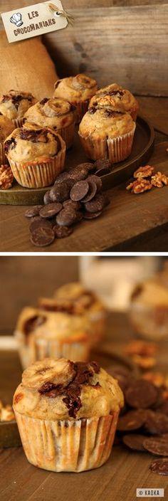 Muffins Banane, Noix & Chocolat // Recette proposée par le blog LesChocomaniaks www.chocomaniaks.fr // ©KAOKA - Chocolat Bio Équitable