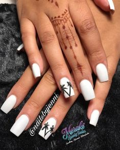 White Nails With Black Detail | Pretty Long & Short Square Nails Inspiration