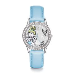 DEAL OF THE DAY, Oct 19th. Ladies' watch. You won't be late for the ball with this gorgeous watch. Silvertone case embellished with rhinestones. Leather-like strap, 23 cm L. © Disney #Disney #Cinderella #Watch #Ottawa