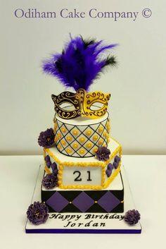 Odiham Cake Company (OCC) - 21st Masquerade Ball themed Birthday cake with handmade edible venetian mask. #cake #venetianmask #masquerade
