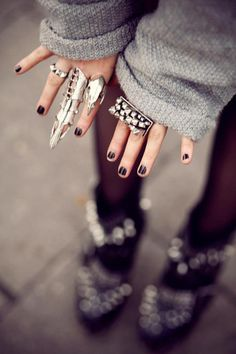 jewels/ ring /punk alternative sweater/  studded  armor ring